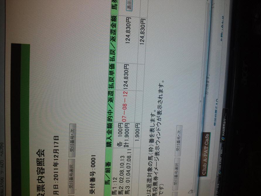 YさんディセンバーS三連複 1248.3倍 2011/12/17