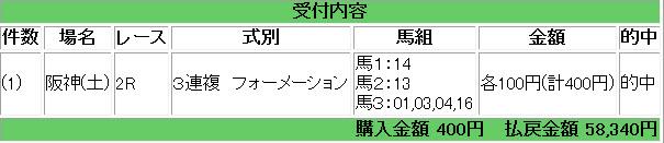 0331 阪神2R 400円 538倍
