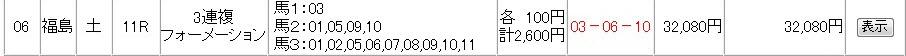 0707土曜 福島11R Iさん320倍的中