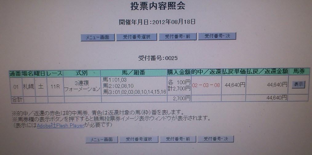 0818土曜札幌11R 27点446倍
