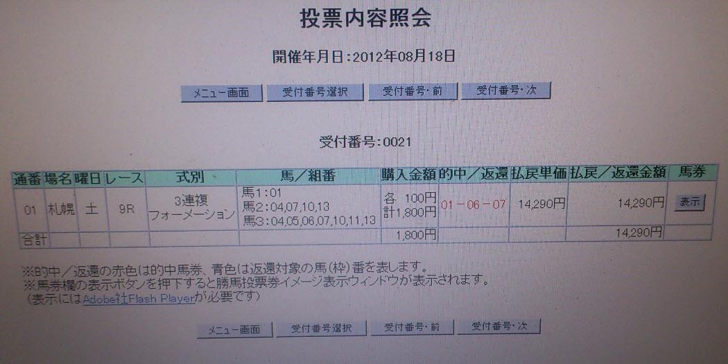 0818土曜札幌9R的中 18点142倍